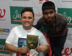 India's topmost self published author Amish is with the new generation author Aditya Singh - Amish is inspiring Aditya by holding Aditya's book 'My Romantic Collection 1- Heart Touching Love Stories' which is published by 24by7Publishing.com.